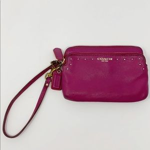 Coach Pink Studded Leather Wristlet